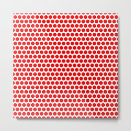Polka / Dots - White / Red - Large Metal Print