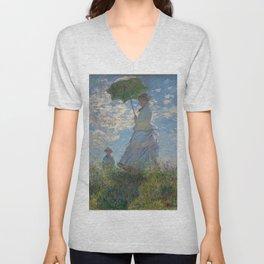 Claude Monet, Woman with a Parasol Unisex V-Neck