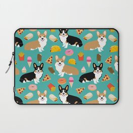 Welsh Corgi junk food fast food tacos french fries pizza burrito ice cream donuts Laptop Sleeve