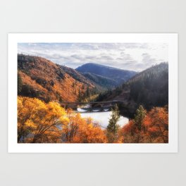 Lake Britton into the Pit River in the Fall Art Print