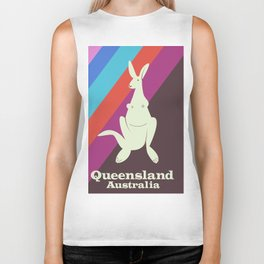 Queensland Australia, kangaroo travel poster Biker Tank