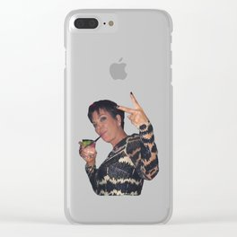 Peace Out Kriss Jenner Clear iPhone Case
