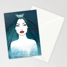 Rainy girl Stationery Cards