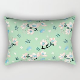 Be who you want to be - pastel flowers in mint Rectangular Pillow