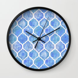 Cornflower Blue Moroccan Hand Painted Watercolor Pattern Wall Clock