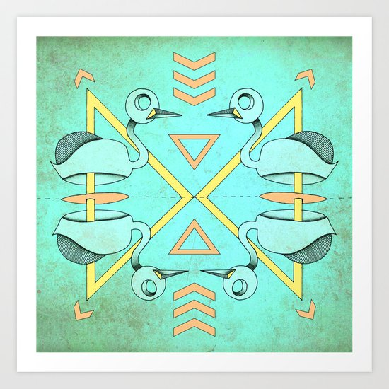 Aztec swan Art Print
