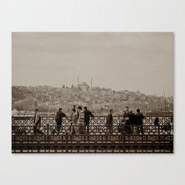 Fishermen on Galata Bridge (Istanbul, TURKEY) Canvas Print