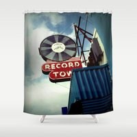 record Shower Curtains featuring Record Town by Colleen G. Drew