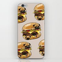 burger iPhone & iPod Skins featuring Pugs Burger by Huebucket