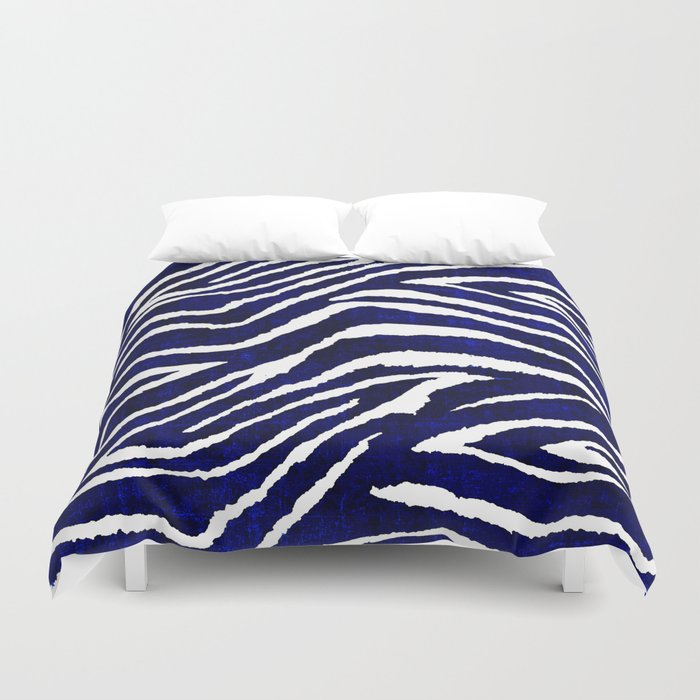 animal print zebra blue and white duvet cover by saundramyles society6. Black Bedroom Furniture Sets. Home Design Ideas
