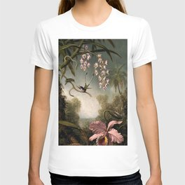Orchids and Spray Orchids with Hummingbird by Martin Johnson Heade T-shirt