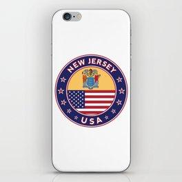 New Jersey, USA States, New Jersey t-shirt, New Jersey sticker, circle iPhone Skin