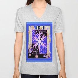 """Frozen"" Blue Snowflake Pattern Art Unisex V-Neck"