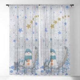 Snowman with sparkly blue stars Sheer Curtain