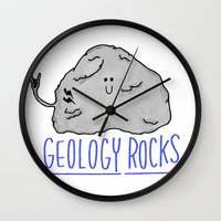 geology Wall Clocks featuring Geology Rocks by leeann walker illustration