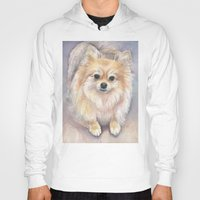 pomeranian Hoodies featuring Pomeranian Watercolor Pom Painting by Olechka
