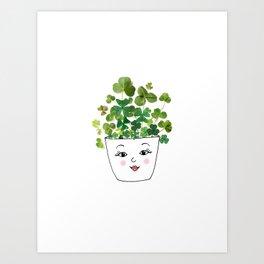 Shamrock Face Vase Art Print