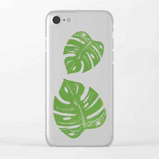 Linocut Monstera Leaf Pattern Clear iPhone Case