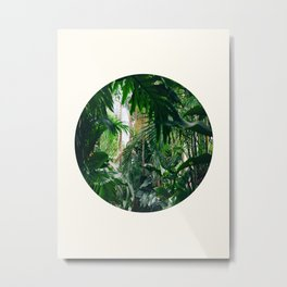 Mid Century Modern Round Circle Photo Graphic Design Green Tropical Jungle Leaves Metal Print