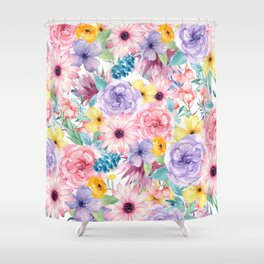 Modern elegant pink lavender yellow watercolor floral Shower Curtain