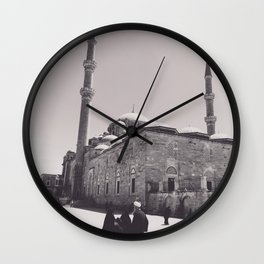 Istanbul mosque photo, black & white fine art, Turkey photography, Middle East Wall Clock