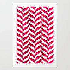 Red Leaf Herringbone Art Print