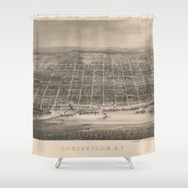 Vintage Pictorial Map of Louisville KY (1860) Shower Curtain