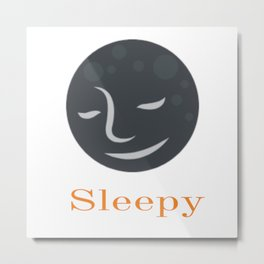 Sleeping Moon Graphic Design Metal Print