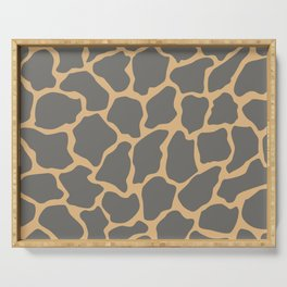 Safari Giraffe Print - Gray & Beige Serving Tray