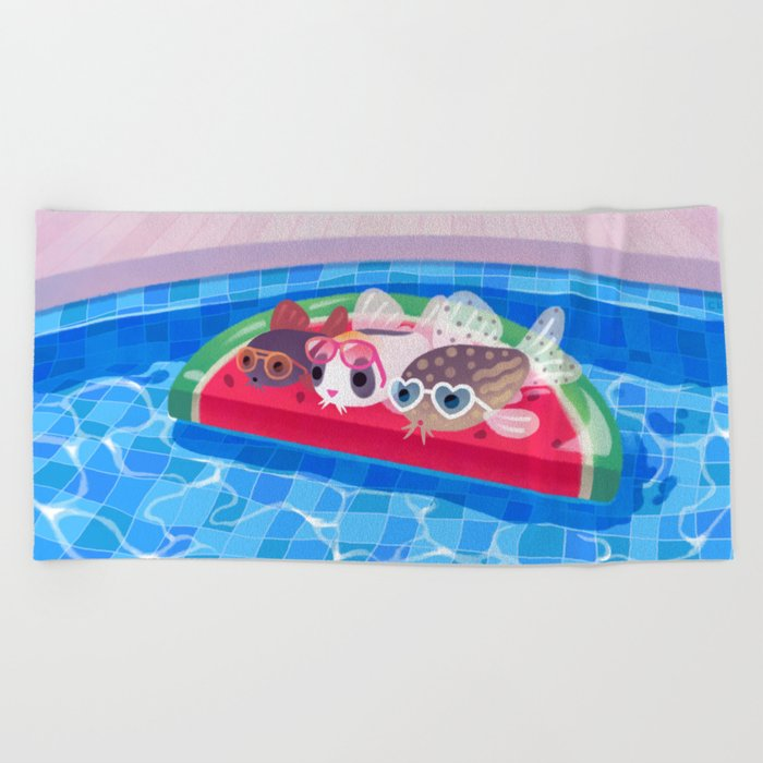 Cory cats in the swimming pool Beach Towel by pikaole