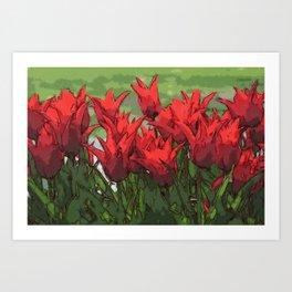 Vibrant Red Tulips Art Print