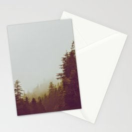 Olive Green Sepia Misty Pine Forest Landscape Photography Parallax Trees Stationery Cards