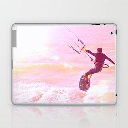 Kitesurfer at sunlight. Back view. Unrecognizable Laptop & iPad Skin