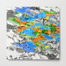 psychedelic splash painting abstract texture in blue green orange yellow black Metal Print