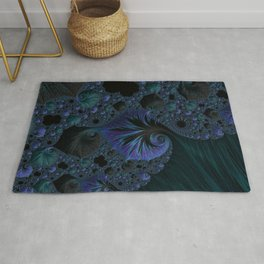 Blue and Black Fractal Rug