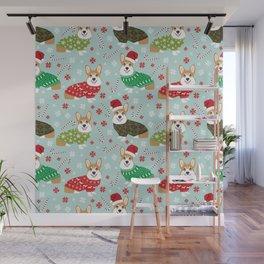 Corgi sweater christmas ugly sweaters dog breed welsh corgis holiday Wall Mural