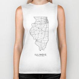 Illinois White Map Biker Tank
