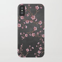 SAKURA LOVE - GRUNGE BLACK iPhone Case