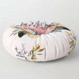 Romantic vintage roses and geometric design Floor Pillow