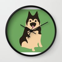 german shepherd Wall Clocks featuring German Shepherd by Fandango089