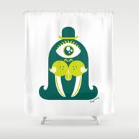 walrus Shower Curtains featuring Walrus by Lucy Irving