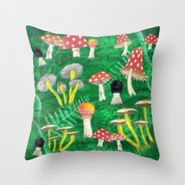 Mushroom Party Throw Pillow