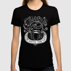 Let Curiosity Kill Me, I'm with the Cat Black Womens Fitted Tee MEDIUM