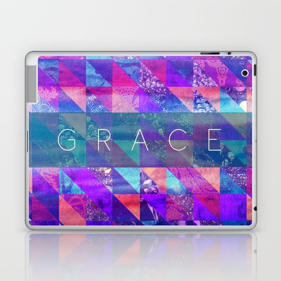 "2 Corinthians 12:9 ""Grace"" (purple triangles) Laptop & iPad Skin"