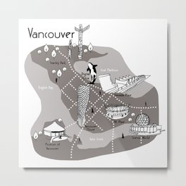 Mapping Vancouver - Grey Metal Print