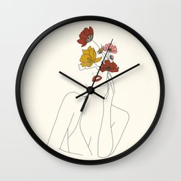 Colorful Thoughts Minimal Line Art Woman with Flowers Wall Clock