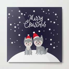 Merry Christmas New Year's card design funny gray husky dog in red hat, Kawaii face with large eyes Metal Print