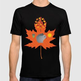 Grey Squirrel Autumn Pattern T-shirt