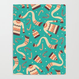 Vintage Christmas Seamless Pattern Poster