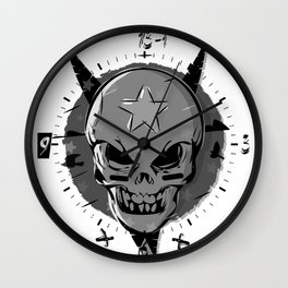 Skull black and white Wall Clock
